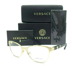 VERSACE VE1233Q 1339 Brushed Gold Shiny Black / Demo Lens 53mm Eyeglasses