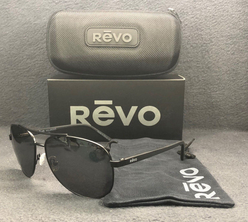REVO Shaw RE 5021 01 GY Matte Black / Gray Mirror Polarized 61mm Sunglassesess