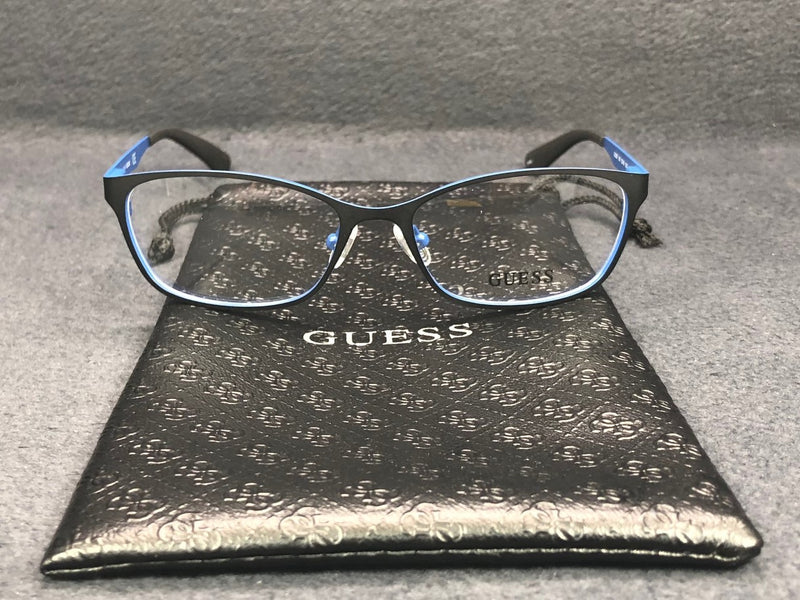 GUESS GU 2563 005 Matte Black Blue Rubber / Demonstration Lens 52mm Eyeglassesess