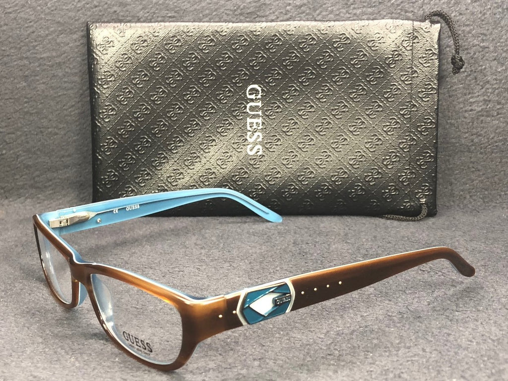GUESS GU 2243 Shiny Brown Teal / Demonstration Lens 53mm Eyeglasses