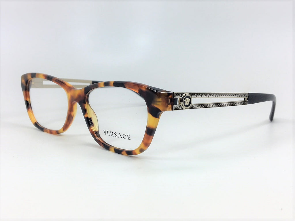 VERSACE VE3220 5119 Havana Gold Black / Demo Lens 52mm Eyeglasses