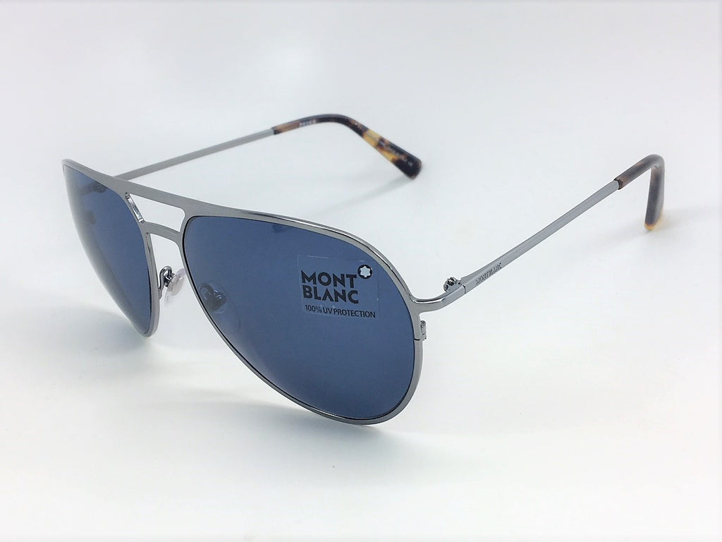 Mont Blanc MB546/S 14V Brushed Ruthenium Havana / Gray Blue 62mm Sunglasses