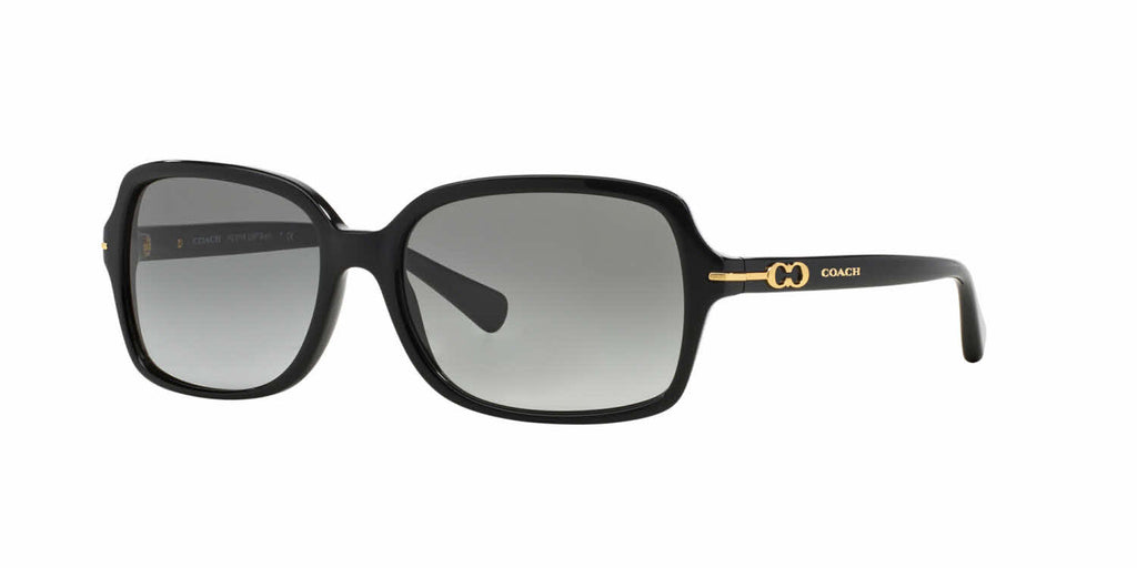 Coach HC8116 500211 Shiny Black Gold / Grey Gradient 56mm Sunglasses