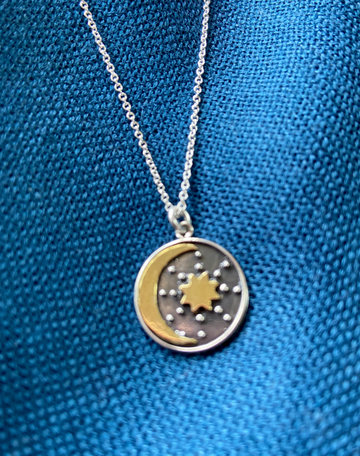 Sterling Silver Nature Inspired Necklace: Crescent Moon and Sun