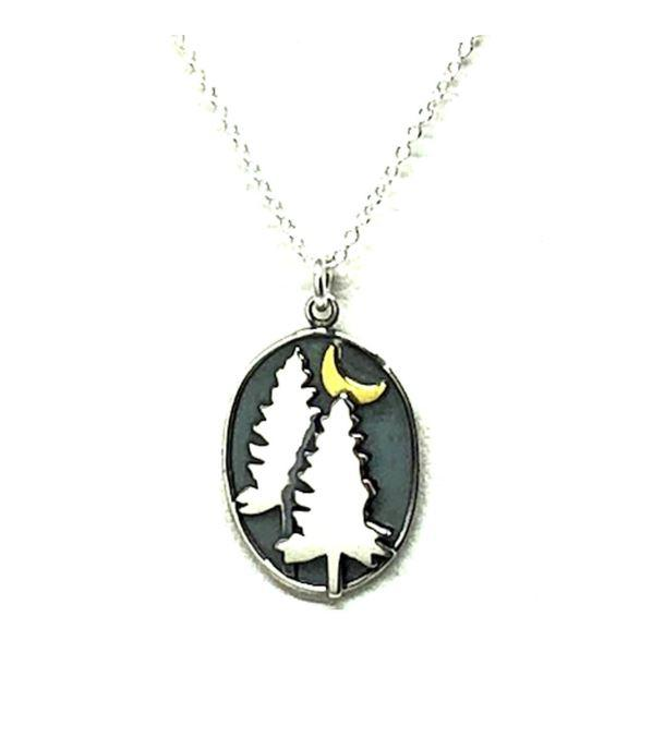 Sterling Silver Nature Inspired Necklace: Pine Trees at Night