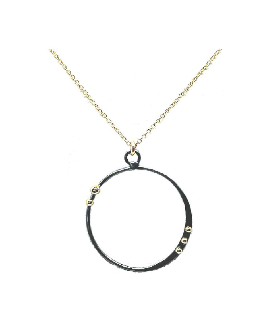 Mixed Metal Open Circle Necklace on Gold Chain
