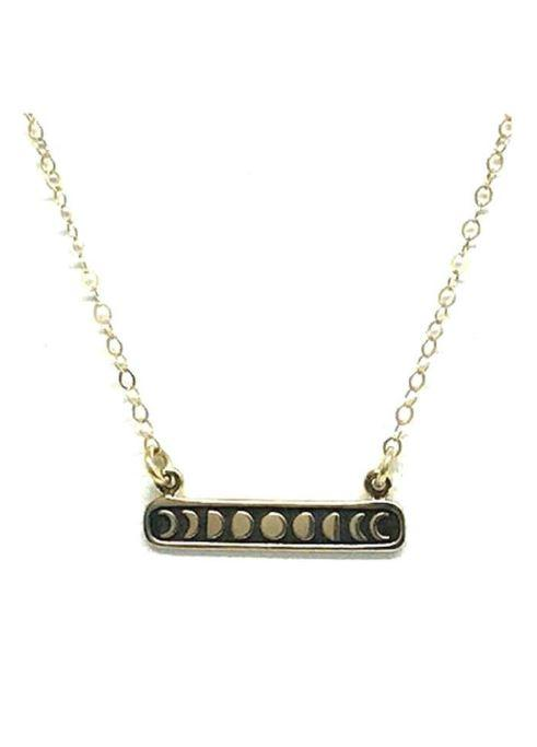Sterling Silver Nature Inspired Necklace: Phases of the Moon Bar in Gold Vermeil