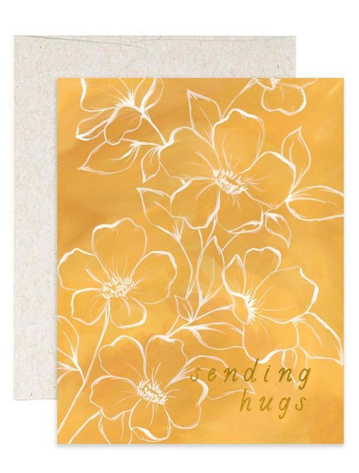 Golden Poppy Sending Hugs Greeting Card