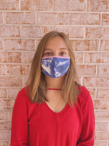 Tie Dye Face Mask Navy / Dusty Pink