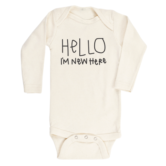 Hello I'm New Here Organic Cotton Long Sleeve Onsie