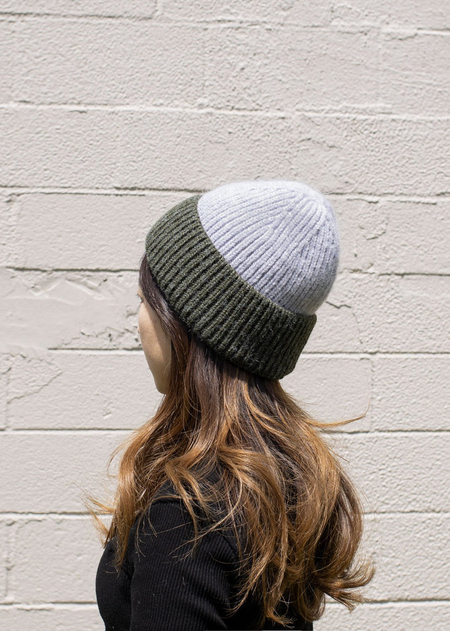 Two Tone Beanie Hat Lavender / Olive