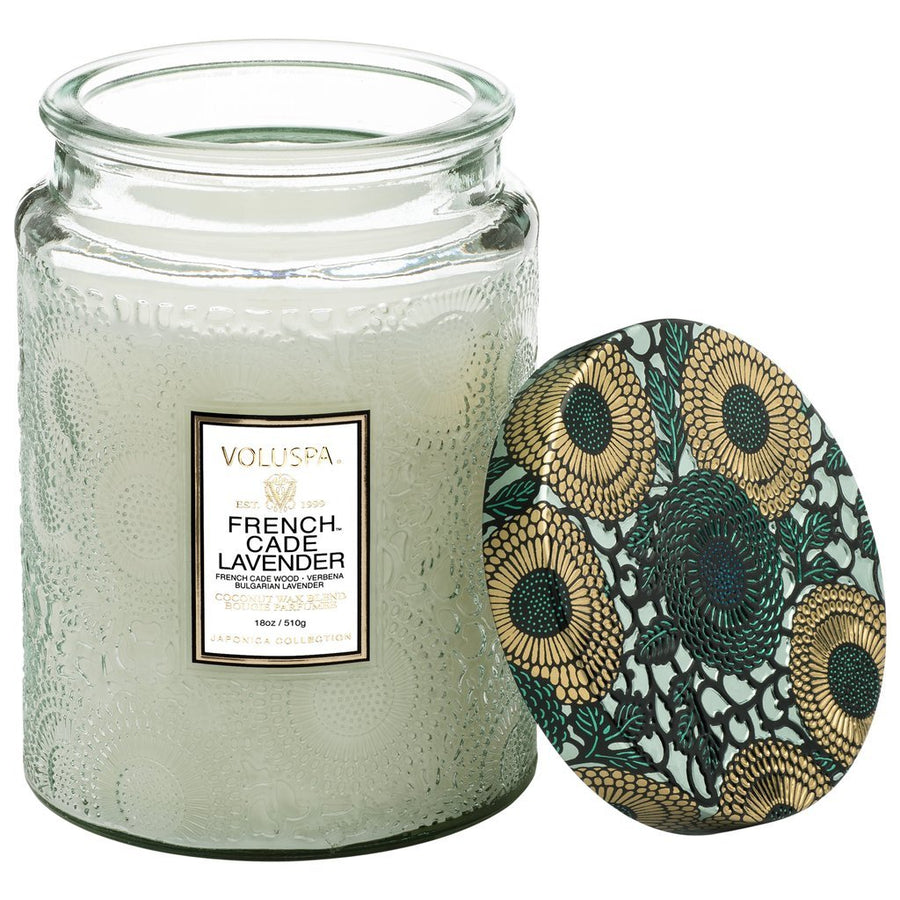 Voluspa Large Glass Jar Candle -French Cade Lavender