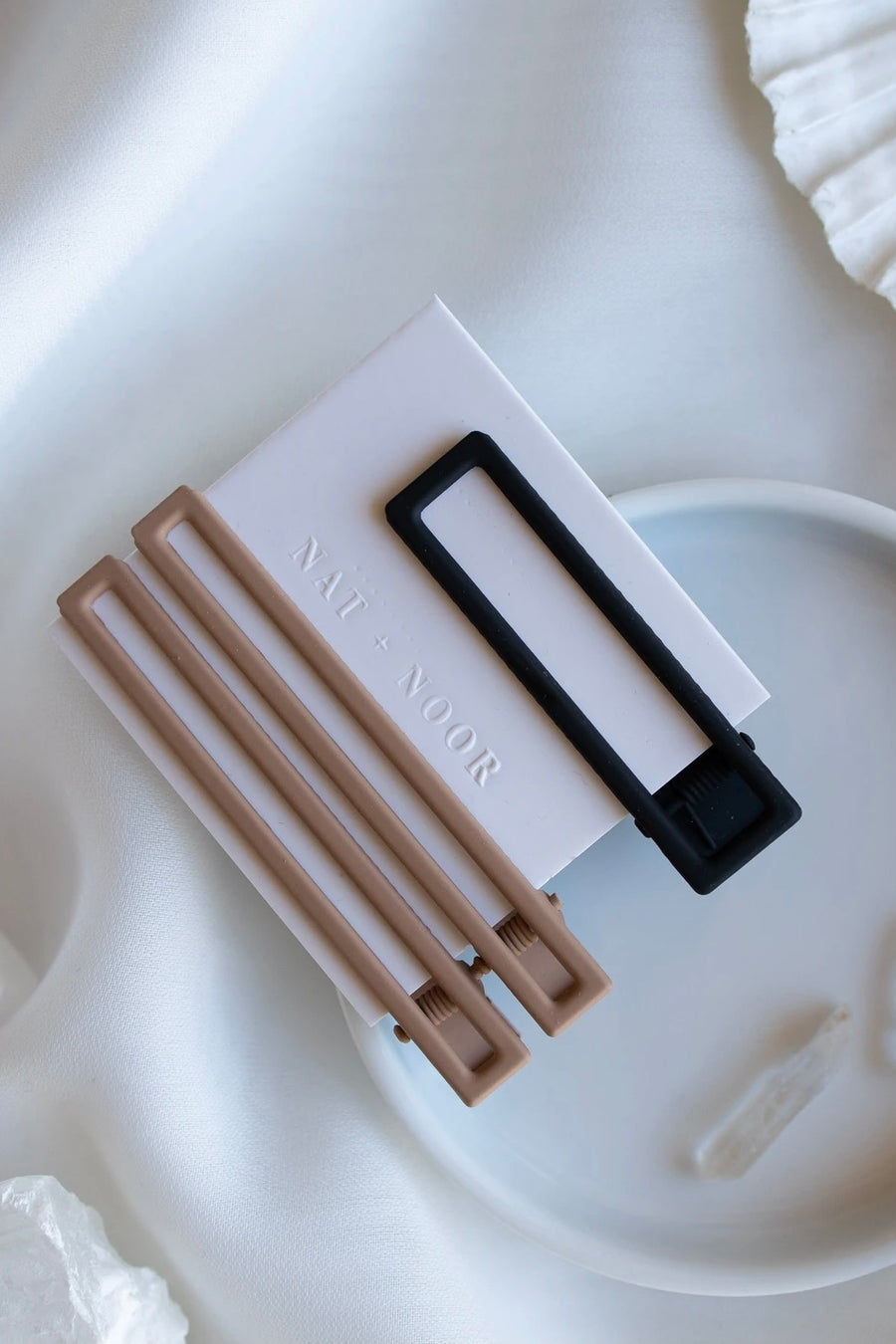 Hair Clip Solid Set Taupe + Black Trio