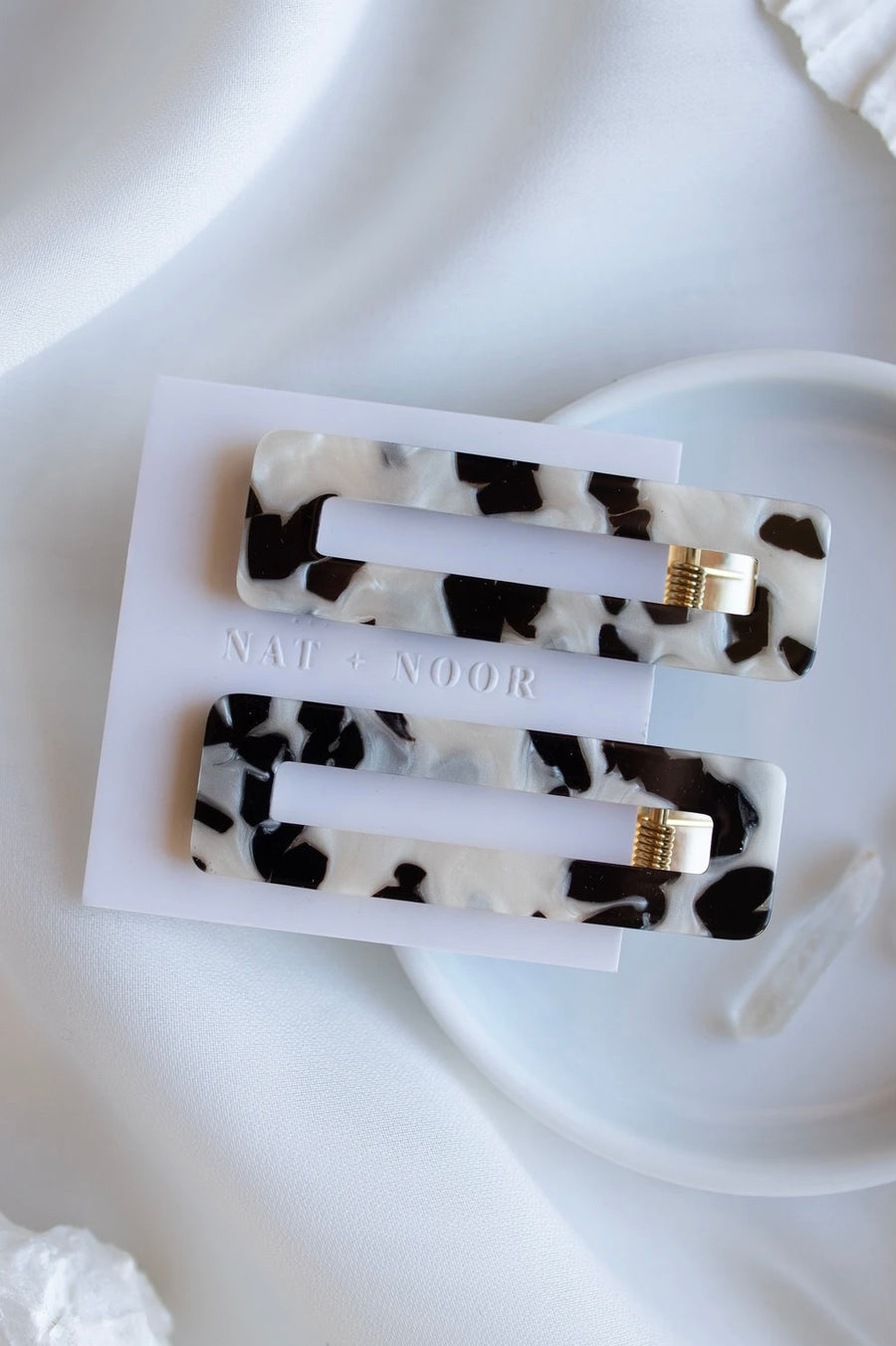 Hair Clip Tortoise Duo Black & White