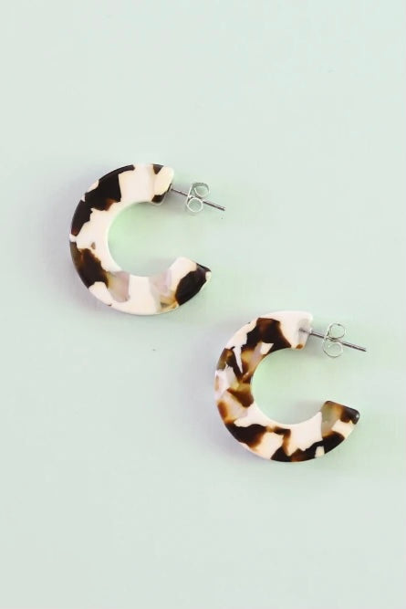 Ray in Coco Cream Semi Hoop Earrings