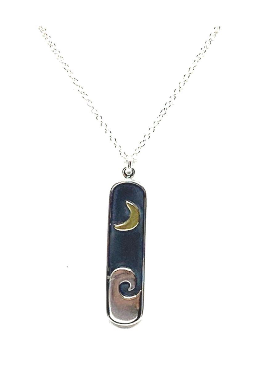 Sterling Silver Nature Inspired Necklace: Moon and Wave Pendant