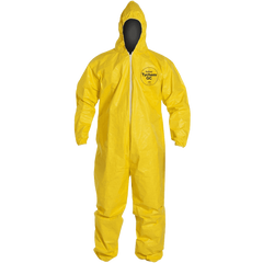 Dupont QC127S Tychem Fabric Protective Coverall with Hood Disposable Elastic Cuff
