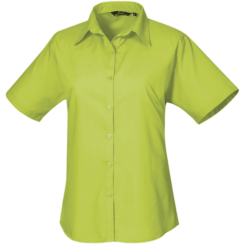 Premier Short Sleeve Poplin Blouse Plain Work Shirt
