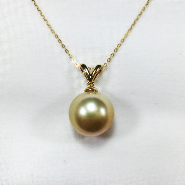 union diamond gold pearl sea south pendant necklace yellow y