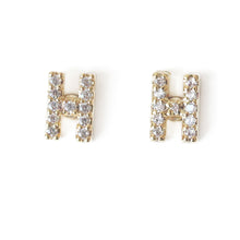 Load image into Gallery viewer, Personalize Letter Earrings with cubic zirconia studs