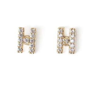 Personalize Letter Earrings with cubic zirconia studs