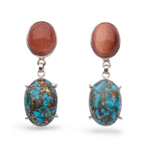 Goldstone Turquoise Earrings
