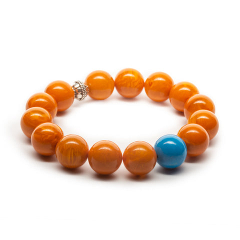 Amber and Turquoise Pop Silver Bracelet