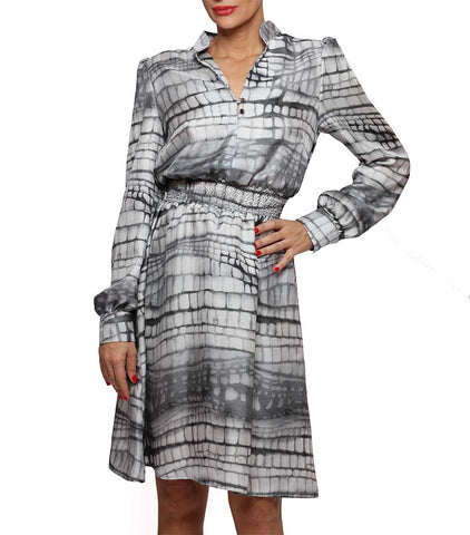 Printed Silk Shirt Dress Nina