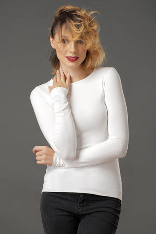 LILIALEX Long Sleeve Moon Cut - white - Grom & Kakao