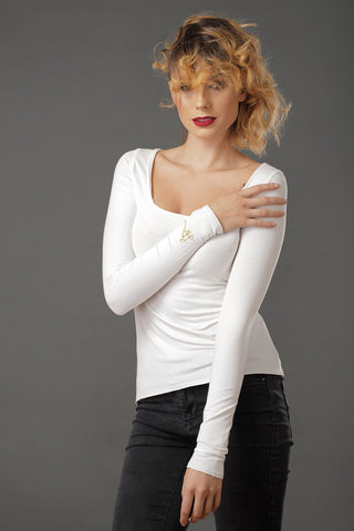 LILIALEX Long Sleeve Square Cut Vanilla White - Grom & Kakao