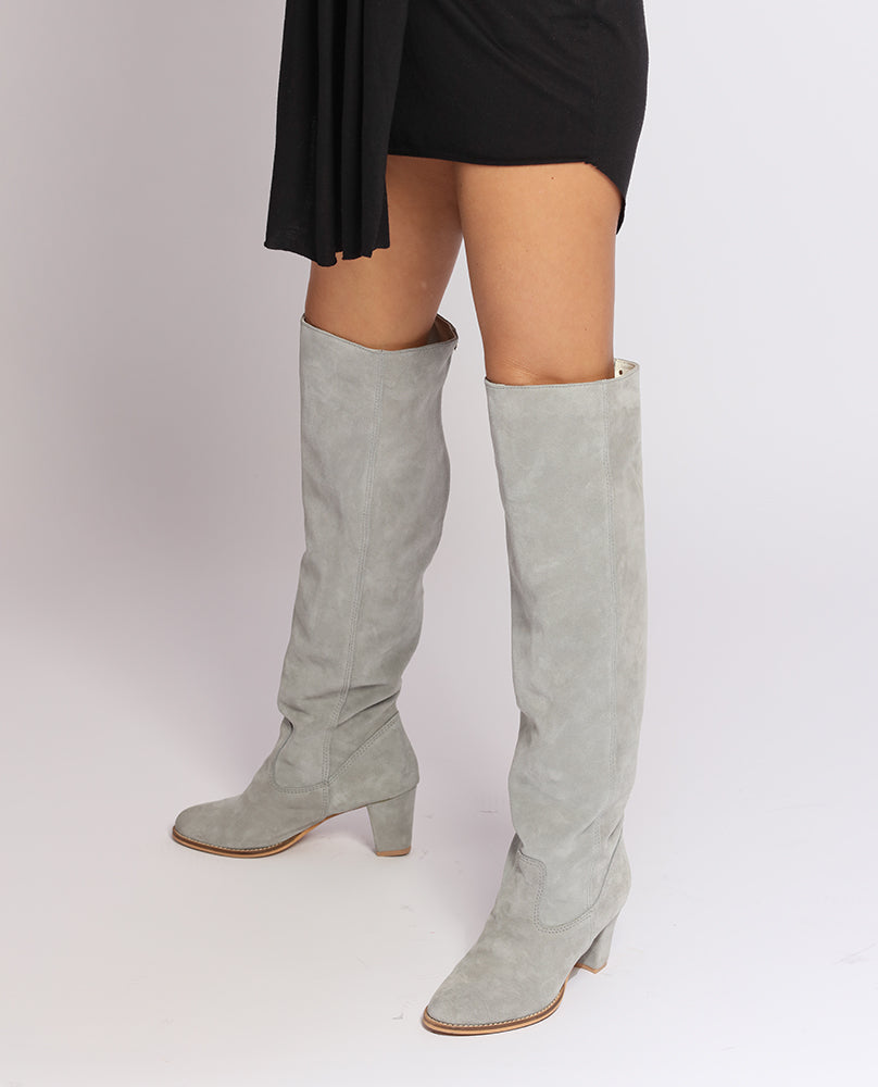 Light Grey Suede Goddess Boots
