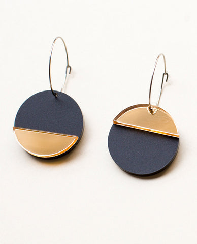 Horizon Earrings - Black & Gold