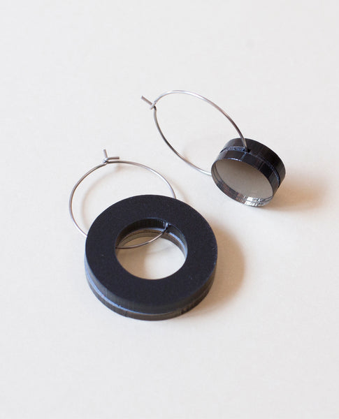 Small Void Circle Earrings - Bronze & Black