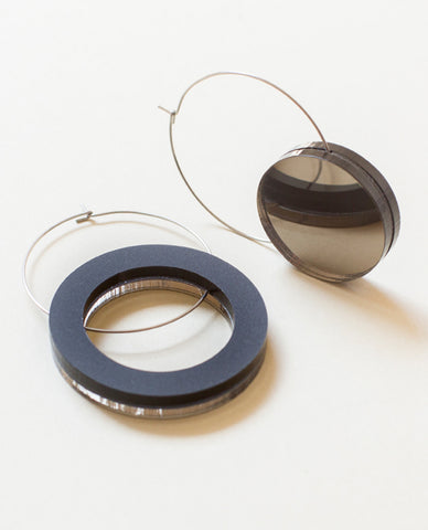 Big Void Circle Earrings - Bronze & Black