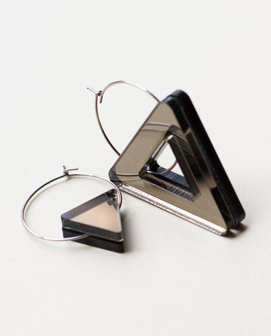 Void Triangle Earrings - Bronze & Black