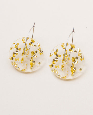 Circle Small Earrings - Gold Flakes