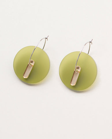 Circle Small Earrings - Olive