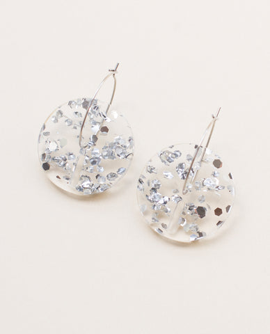 Circle Small Earrings - Silver Flakes