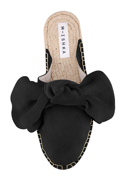 M-ISHKA Black Bow Slippers - Grom & Kakao