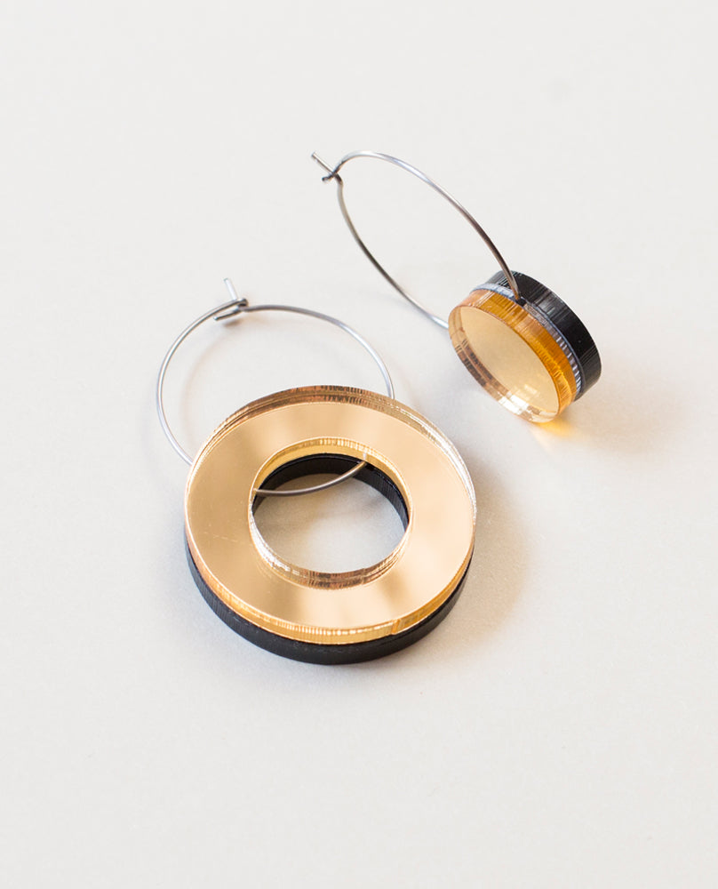 Small Void Circle Earrings - Gold & Black