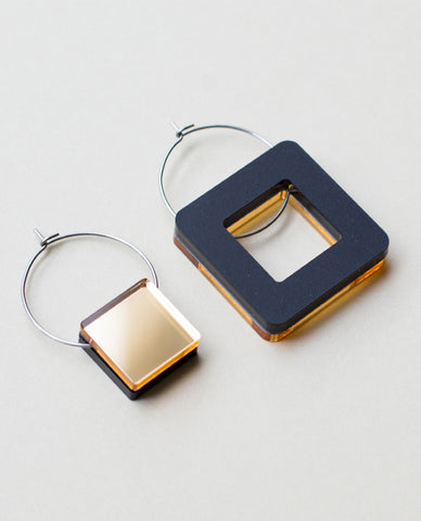 Void Square Earrings - Gold & Black