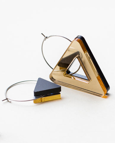 Void Triangle Earrings - Gold & Black