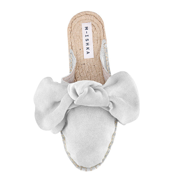 M-ISHKA Ice White Bow Slippers - Grom & Kakao