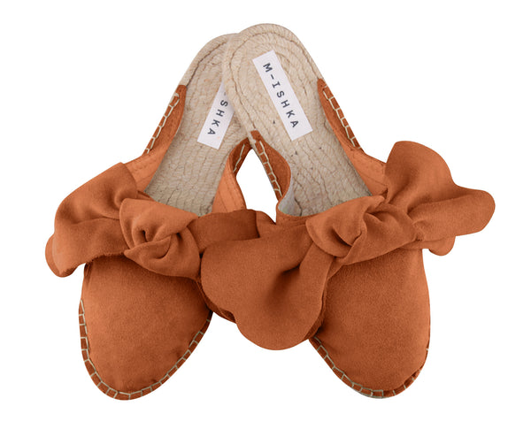 M-ISHKA Orange Bow Slippers - Grom & Kakao