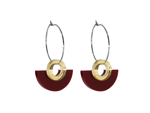 PAMELA COROMOTO Blok Earrings Bordeux . Minimal, casual and playful! - Grom & Kakao