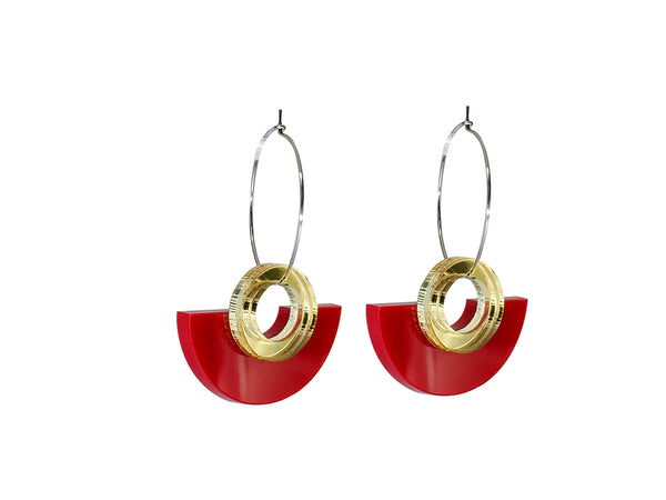 PAMELA COROMOTO Blok Earrings Red. Minimal, casual and playful! - Grom & Kakao