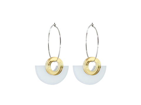 PAMELA COROMOTO Blok Earrings White. Minimal, casual and playful! - Grom & Kakao