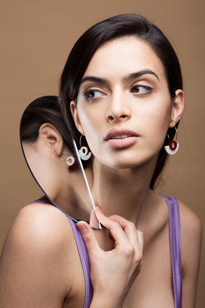 PAMELA COROMOTO Blok Earrings Black. Minimal, casual and playful! - Grom & Kakao