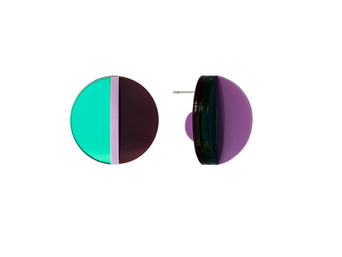 PAMELA COROMOTO Dexel Earrings Mini - Green/Magenta - Grom & Kakao