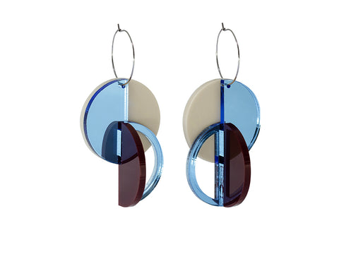 PAMELA COROMOTO ROTCHENKO Earrings - Blue/Beige - Grom & Kakao